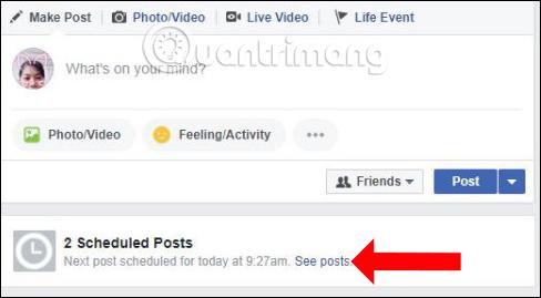 Quản lý bài đăng hẹn giờ Facebook