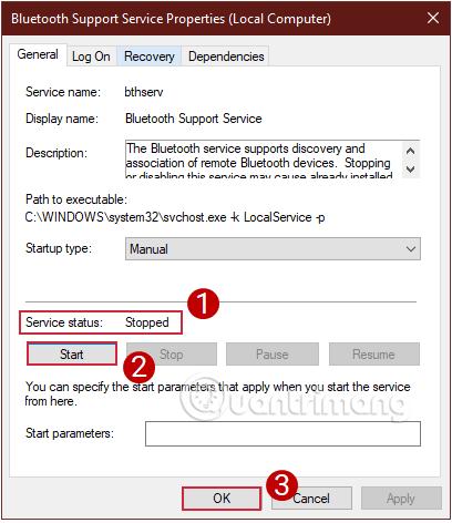 Kiểm tra Service status, bật tính năng nếu nó chưa chạy