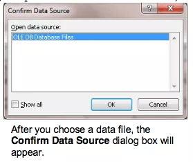 Hộp thoại Confirm Data Source