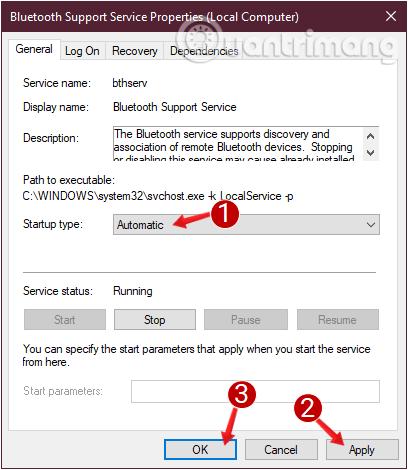 Kiểm tra Startup type, chuyển hết các mục về Automatic