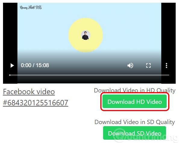 Chọn độ phân giải video muốn tải