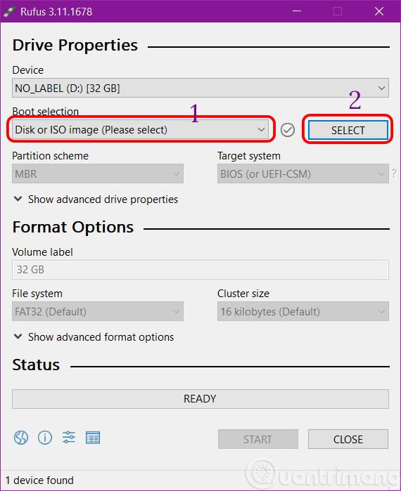 Chọn file ISO để tạo USB boot