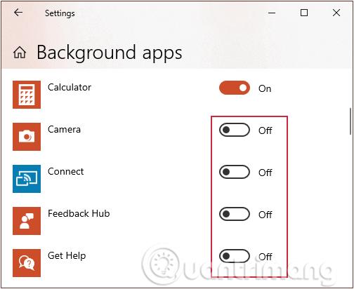 Chuyển các ứng dụng về chế độ Off để tắt chạy nền win 10