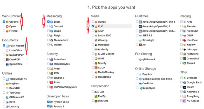 hững phần mềm bạn muốn cài đặt lên máy tính