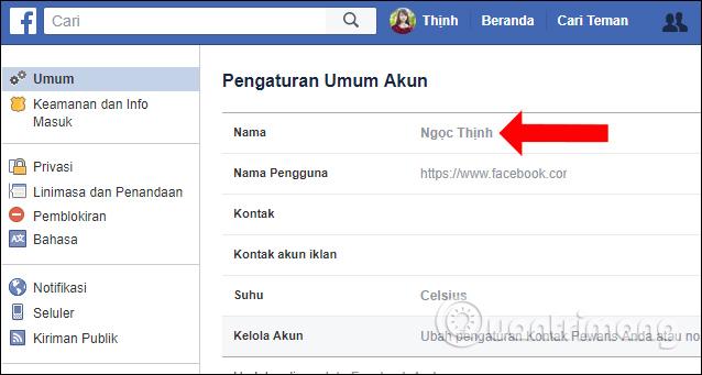 Đổi tên Facebook