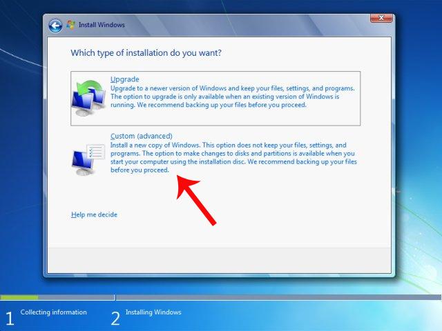 Nhấn chọn cách cài đặt Custom