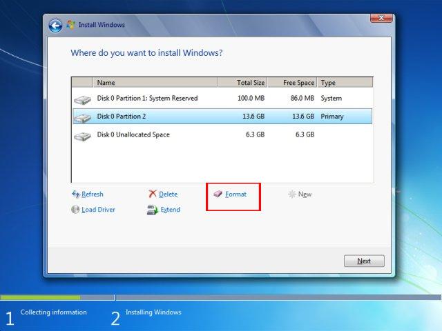 Format ổ cài đặt Windows 7