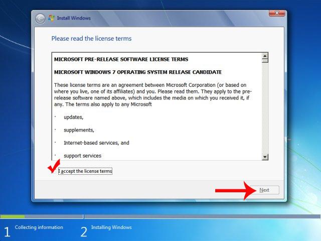 Các điều khoản cài đặt Windows 7