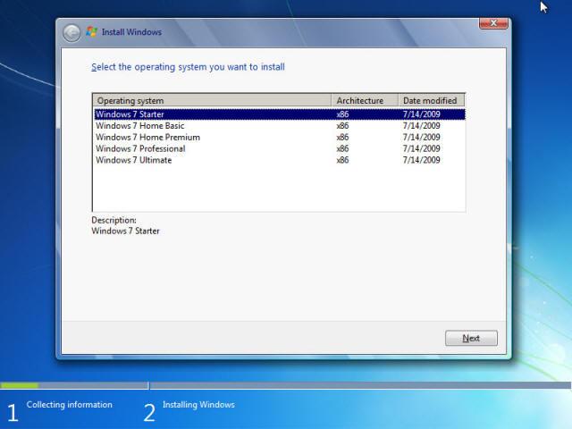 Chọn hệ điều hành Windows 7 muốn cài đặt