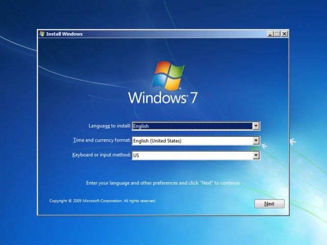 Giao diện thiết lập đầu tiên trên Windows 7