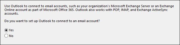 Thông báo hỏi về thiết lập tài khoản email