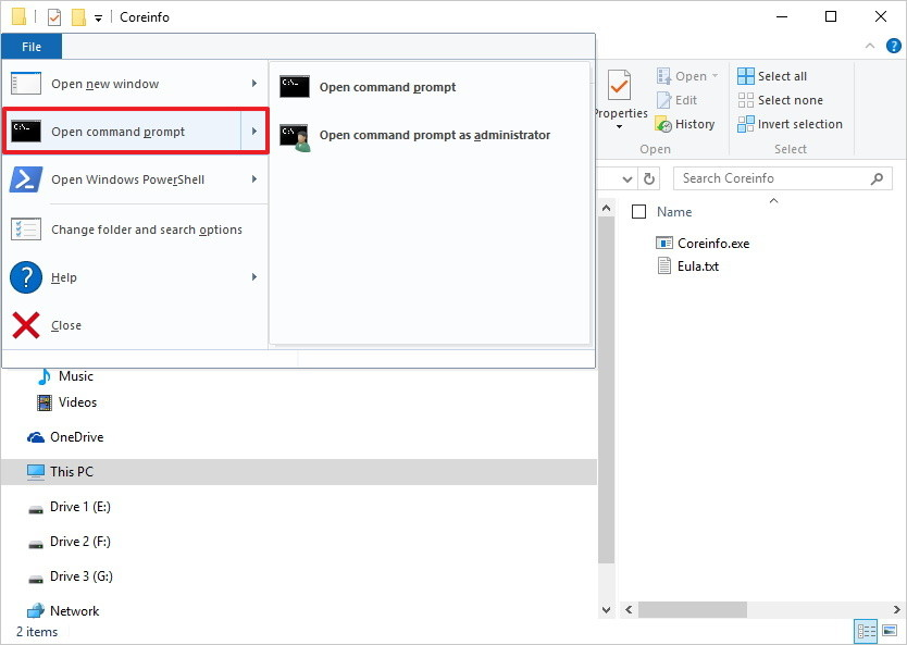chọn Open command prompt