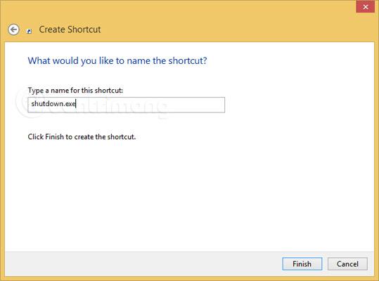 Nhấn Finish để hoàn tất việc tạo shortcut