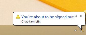 Thông báo trên màn hình khi lệnh tắt máy tính được thực thi