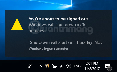 Thông báo cho biết thời gian sẽ tắt máy tính