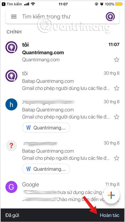 Hoàn tác thư đã gửi Gmail trên thiết bị iOS