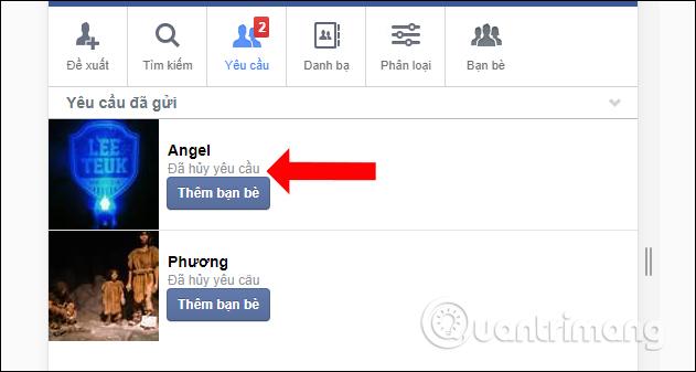 Hủy lời mời kết bạn Facebook đã gửi